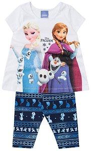 Conjunto feminino estampado legging e blusa manga curta -Frozen - Brandili