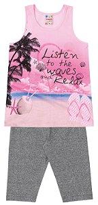 Conjunto feminino estampado calça corsário e camiseta - Brandili