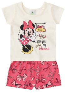 Conjunto feminino short e blusa manga curta - Minnie - Brandili