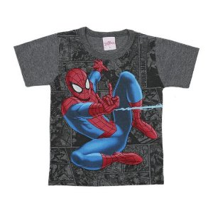 Camiseta masculina estampada manga curta - Homem Aranha - Brandili