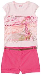 Conjunto feminino estampado short e blusa manga curta - Brandili