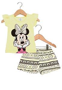 Conjunto feminino short e blusa de manga curta - Minnie - Brandili