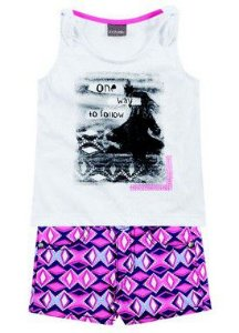 Conjunto feminino estampado short e camiseta - Brandili Mundi