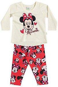 Conjunto feminino estampado calça e blusa de manga longa - Minnie - Brandili
