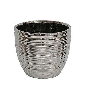 Cachepot de Cerâmica Prateado - 20x18 cm