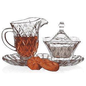 Conjunto para Chá com Jarra, Açucareiro e Bandeja - 3 Peças