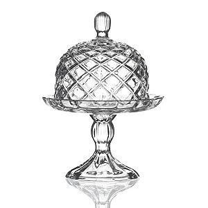 Queijeira Pequena de Cristal com Pé - 14x18cm