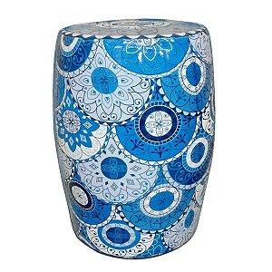 Seat Garden Azul e Branco - Banqueta de Cerâmica - 30x46 cm