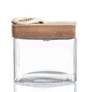 Caixa de Vidro com Tampa em Madeira - 15x13 cm