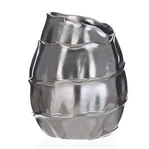 Cachepot de Cerâmica Prateado - 19x23 cm