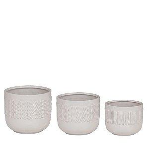 Jogo de Vaso de Cerâmica Branco - 3 Peças