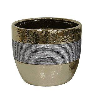 Cachepot de Cerâmica Dourado - 21x18 cm