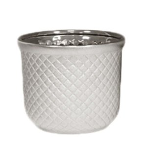 Cachepot de Cerâmica Prateado - 16x13 cm