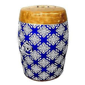 Seat Garden Azul e Branco - Banqueta de Cerâmica Estampada Mosaico - 30x46 cm