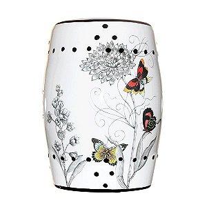 Seat Garden Branco - Banqueta de Cerâmica - Borboletas - 30x46 cm
