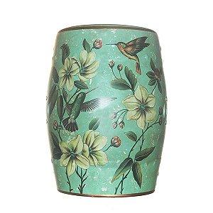 Seat Garden Verde - Banqueta de Cerâmica - Flores - 30x46 cm