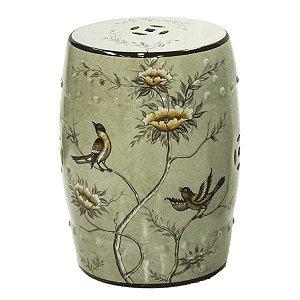 Seat Garden Bege - Banqueta de Cerâmica Estampada - Flores - 30x46 cm