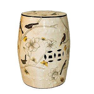 Seat Garden Branco - Banqueta de Cerâmica - Flores - 30x46 cm