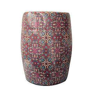 Seat Garden Rosa - Banqueta de Cerâmica Estampada - 30x46 cm