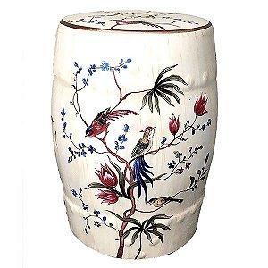 Seat Garden Branco - Banqueta de Cerâmica - Aves e Árvore - 30x46 cm