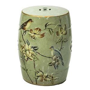 Seat Garden Verde - Banqueta de Cerâmica - Aves e Flores - 30x46 cm