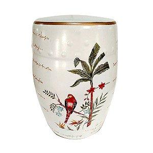 Seat Garden Branco - Banqueta de Cerâmica Arara - 30x46 cm