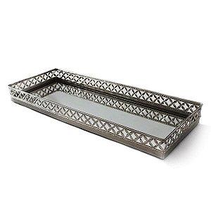 Bandeja Retangular Borda X Prateada - 55,5x5,5 cm