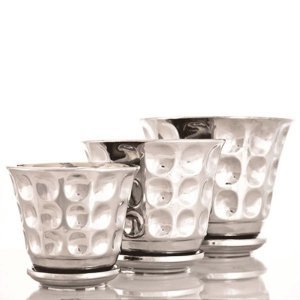 Cachepots de Cerâmica Prateados 3 Peças