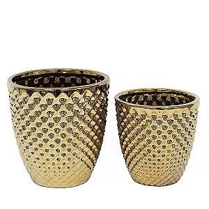 Cachepot de Cerâmica Dourado - 2 Peças