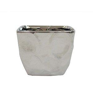 Cachepot de Cerâmica Prateado - 12,5x11 cm