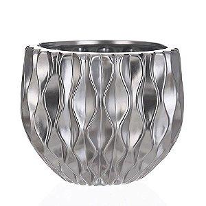 Cachepot de Cerâmica Prateado - 20x17 cm