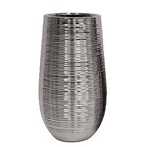 Cachepot de Cerâmica Prateado - 17x29 cm