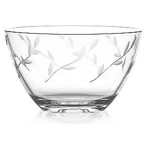 Saladeira de Vidro Lapidado com Folhas - 21x12 cm