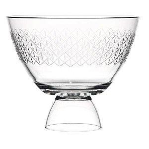 Saladeira de Vidro Lapidado com Pé - 28x23 cm