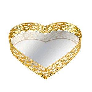 Bandeja Dourada em Coração 20x4,5 cm