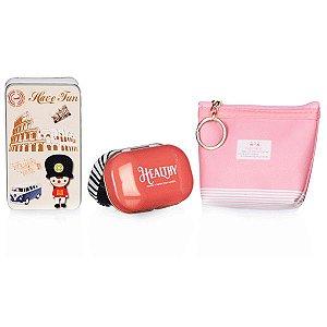 Kit de Viagem  Rosa e Vermelho com 3 Peças