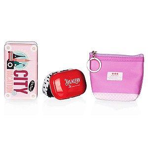 Kit de Viagem Vermelho e Rosa com 3 Peças