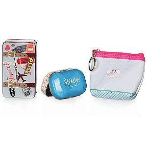 Kit de Viagem Azul e Rosa com 3 Peças