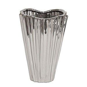 Vaso De Cerâmica Prateado - 23x30 cm