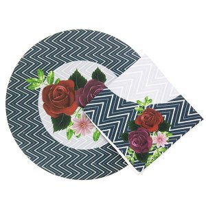 Sousplats com Guardanapos de Tecido Floral