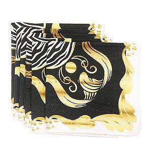 Kit Guardanapos de Tecido Estampado Preto e Dourado