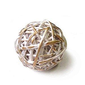 Bola Decorativa Branca e Dourada - 8 cm