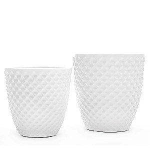 Vaso de Cerâmica Branco - 2 Peças