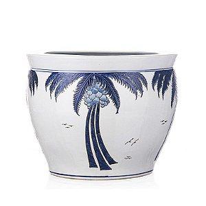 Vaso de Cerâmica com coqueiros - 41x32 cm