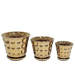 Cachepot de Cerâmica Dourado - 3 Peças