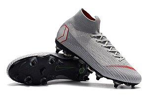Chuteira Nike Campo Cano Longo Trava Mista Mercurial SUPERFLY VI ELITE Cinza 58090c8995bc6
