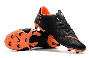 Chuteira Nike Mercurial Vapor XII PRO Preta Laranja 263ccacbbb994