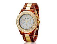 Relógio Feminino Miler 1284 Ouro e Marrom com Cristais