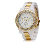 Relógio Feminino Miler 1284 Ouro e Branco com Cristais