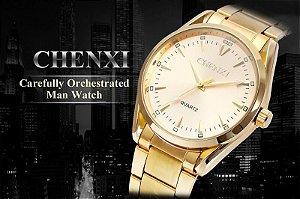 Relógio Masculino Chenxi 006A Quartz Branco Pulseira Dourada Impermeável